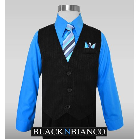 Custom Fit Pinstripe Suit - Boys Suit Pinstripe Vest with a Blue Shirt Size 2-14