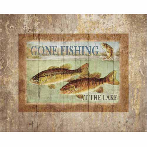 Lake Fishing Three Fish Jump Water Wood Grain Distressed Lodge Painting Tan & Blue Canvas Art by Pied Piper Creative
