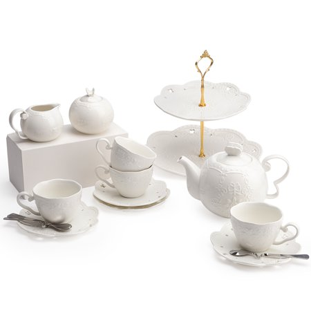 Kendal Porcelain Tea Cup and Saucer Coffee Cup Set with Saucer, Spoon, Sugar, Creamer (White Tea Set)