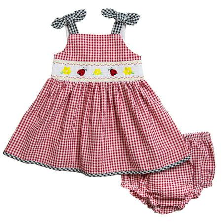 Seersucker Sundress - Good Lad Newborn/Infant Girls Red Gingham Seersucker Smocked Sundress with Ladybug embroideries
