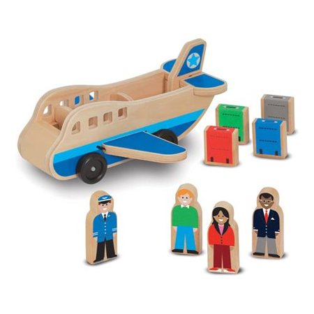 Melissa & Doug Wooden Airplane Play Set with 4 Play Figures and 4 - Wooden Airplanes