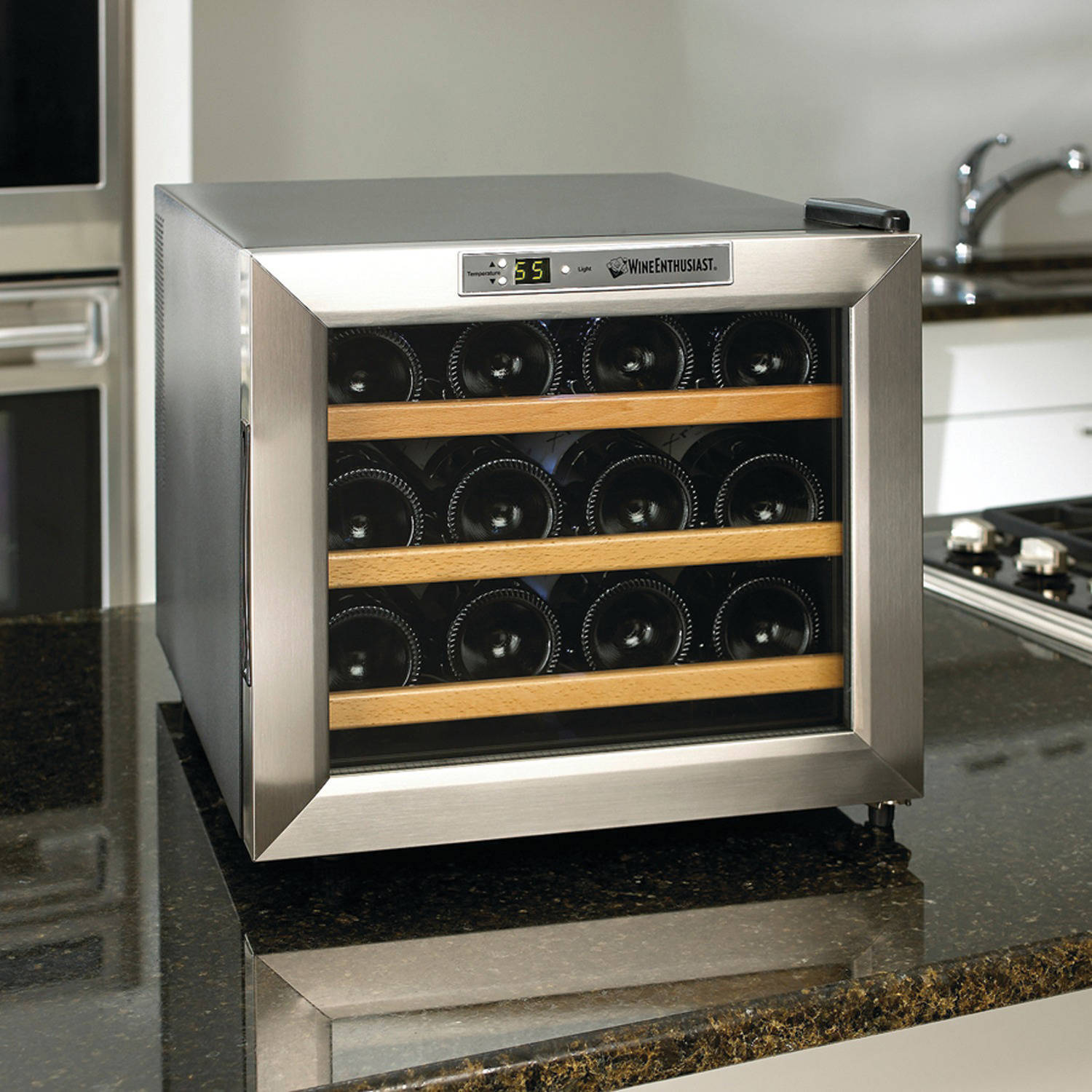 Wine Enthusiast 2720213W Silent 12-Bottle Wine Cooler
