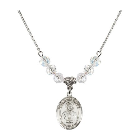 18-Inch Rhodium Plated Necklace with 6mm White April Birth Month Stone Beads and Saint Peter Chanel Charm](Chanel Charm)