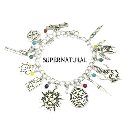 Supernatural TV Series Charm Bracelet w/Gift Box Dean and Sam Winchester Premium Cosplay Jewelry Series by Superheroes (Tiffany Box Bracelets)