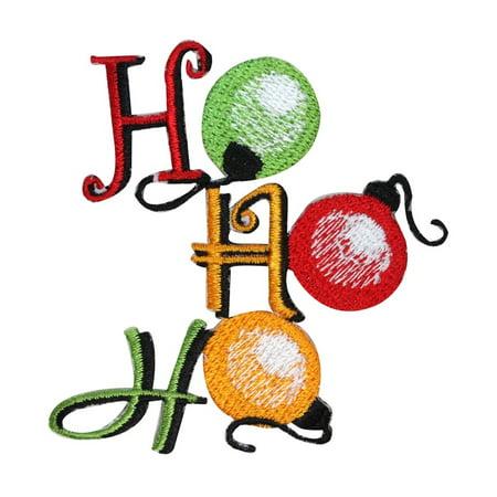 ID 8176B Ho Ho Ho Christmas Tree Ornaments Patch Embroidered Iron On Applique
