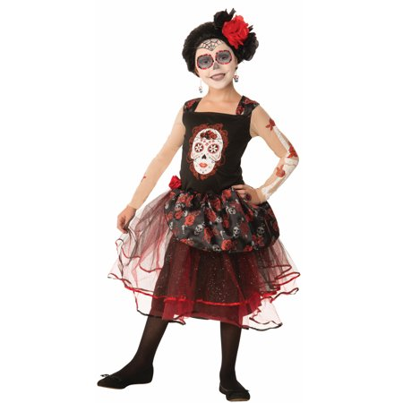 Day Of The Dead Rosa Senorita Sugar Skull Goth Princess Costume for $<!---->