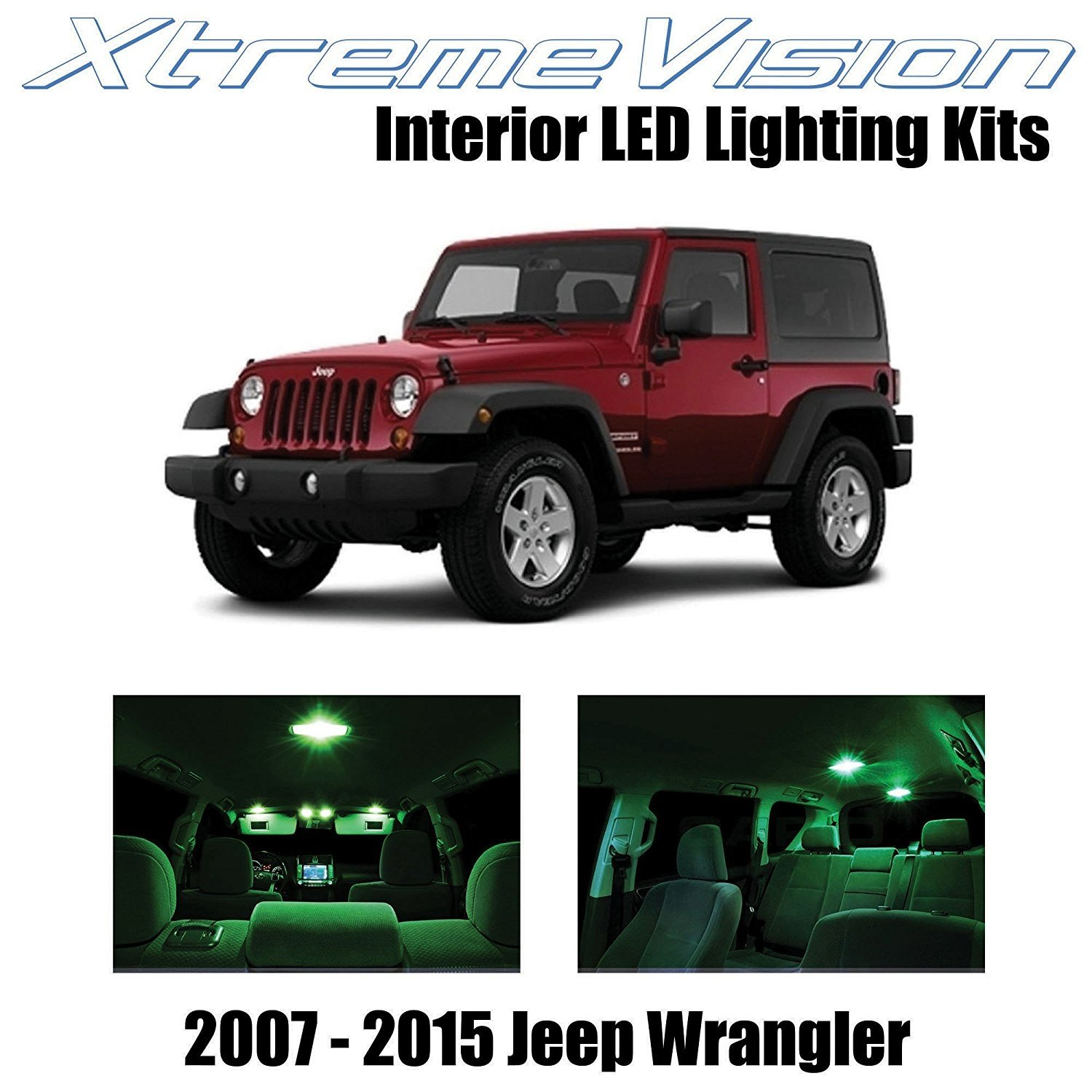 XtremeVision LED for Jeep Wrangler JK 2007-2015 (5 Pieces) Green Premium Interior LED Kit Package + Installation Tool