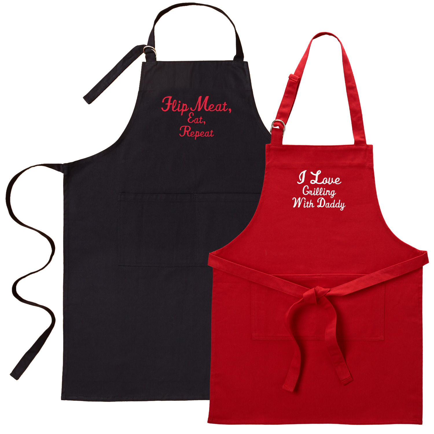 Personalized Family Fun Embroidered Grill Apron Set - Black Adult/Red Youth Available in 2 Colors and 2 Fonts