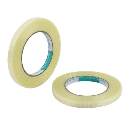 - 2 Pcs 10mm Height 50M Length Long Adhesive Insulating Grid Glass Fiber Tape Roll