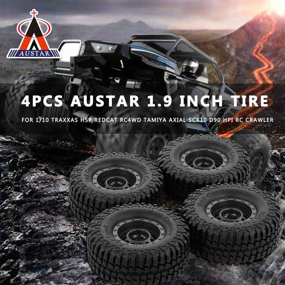 4pcs AUSTAR 100mm 1 9 Inch Rim Rubber Tyre Tire Wheel for 1