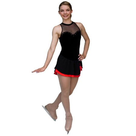 Girls Black Velvet Red Mesh Ice Skating Dress (Used Figure Skating Competition Dresses For Sale)