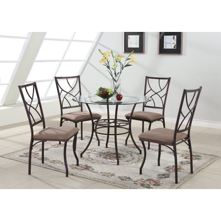 5 piece copper metal glass round kitchen dinette dining table 4 side chairs. Black Bedroom Furniture Sets. Home Design Ideas