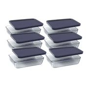 Pyrex Simply Store 3-Cup Rectangular Dish with Blue Lid, Set of 6