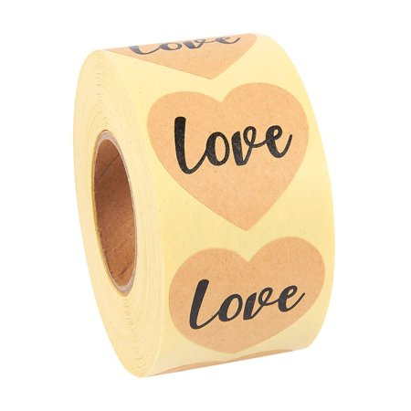 Love Stickers Roll - 500-Piece Heart Shape Love Labels, Ideal for Scrapbooking, Crafting, Party Favors, Kraft Paper Adhesive Labels, Natural Brown, 1.5 Inches in
