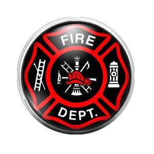 Fire Department Firefighter - 18MM Glass Dome Candy Snap Charm GD0279 - Candy Charm