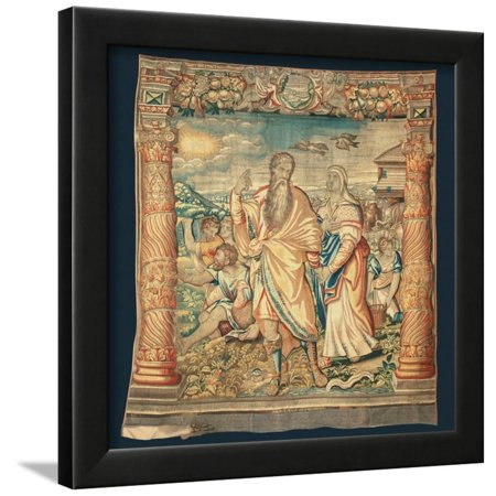 Tapestry Depicting the Descent from the Ark and the Series of the Life of Noah Framed Print Wall Art By Paulus van Nieuwenhove