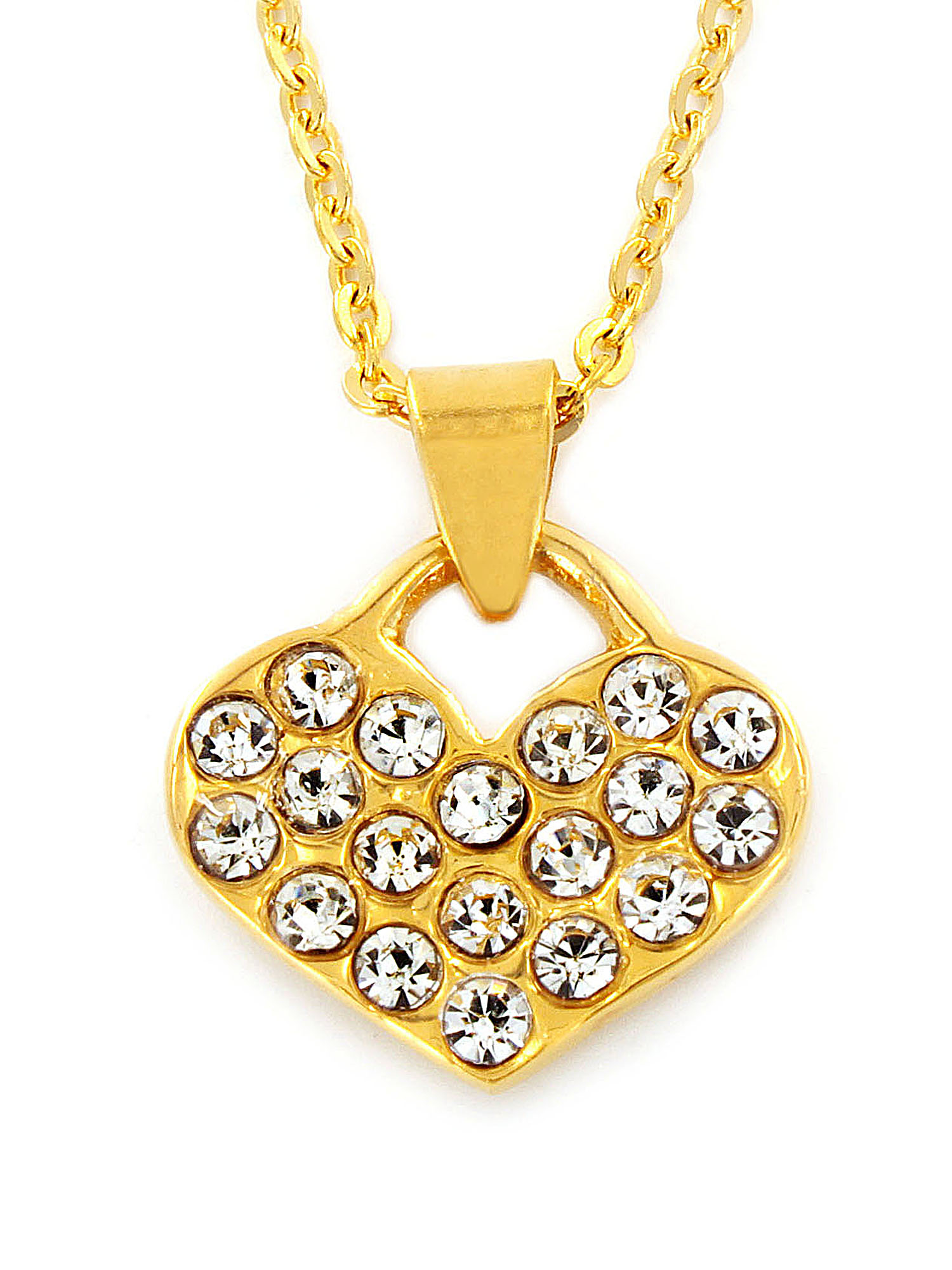 Gold Plated Stainless Steel Heart CZs Pendant Necklace