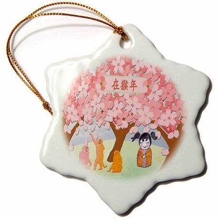 3dRose Three Orange and Pink Monkey under Plum Trees with Little Chinese Girl, Snowflake Ornament, Porcelain,