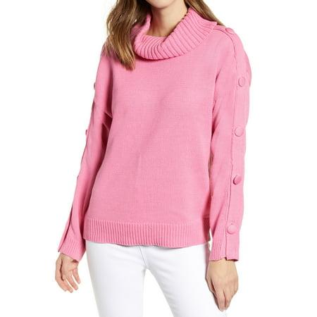 Womens Medium Button Detail Turtleneck Sweater (Detailed Turtleneck)