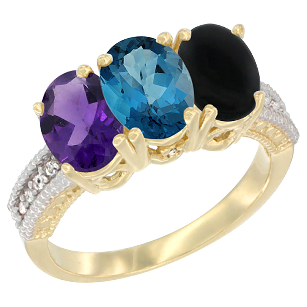 10K Yellow Gold Diamond Natural Amethyst, London Blue Topaz & Black Onyx Ring Oval 3-Stone 7x5 mm,sizes 5-10 by WorldJewels