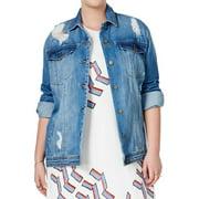 Rachel Rachel Roy Womens Plus Destroyed Faded Denim Jacket