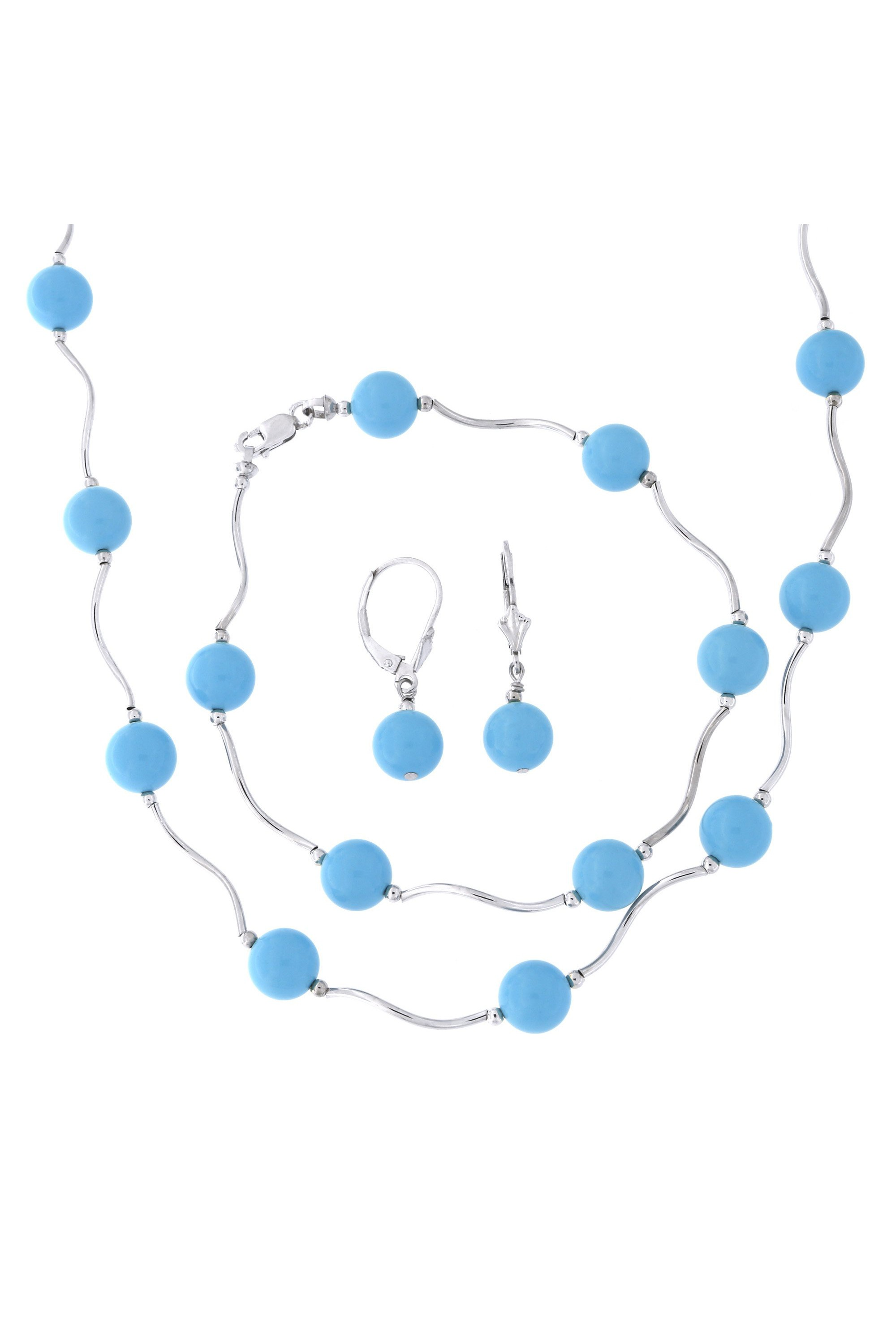 Sterling Silver Rhodium Plated 8mm Simulated Turquoise Station Necklace, Earrings and Bracelet Set by