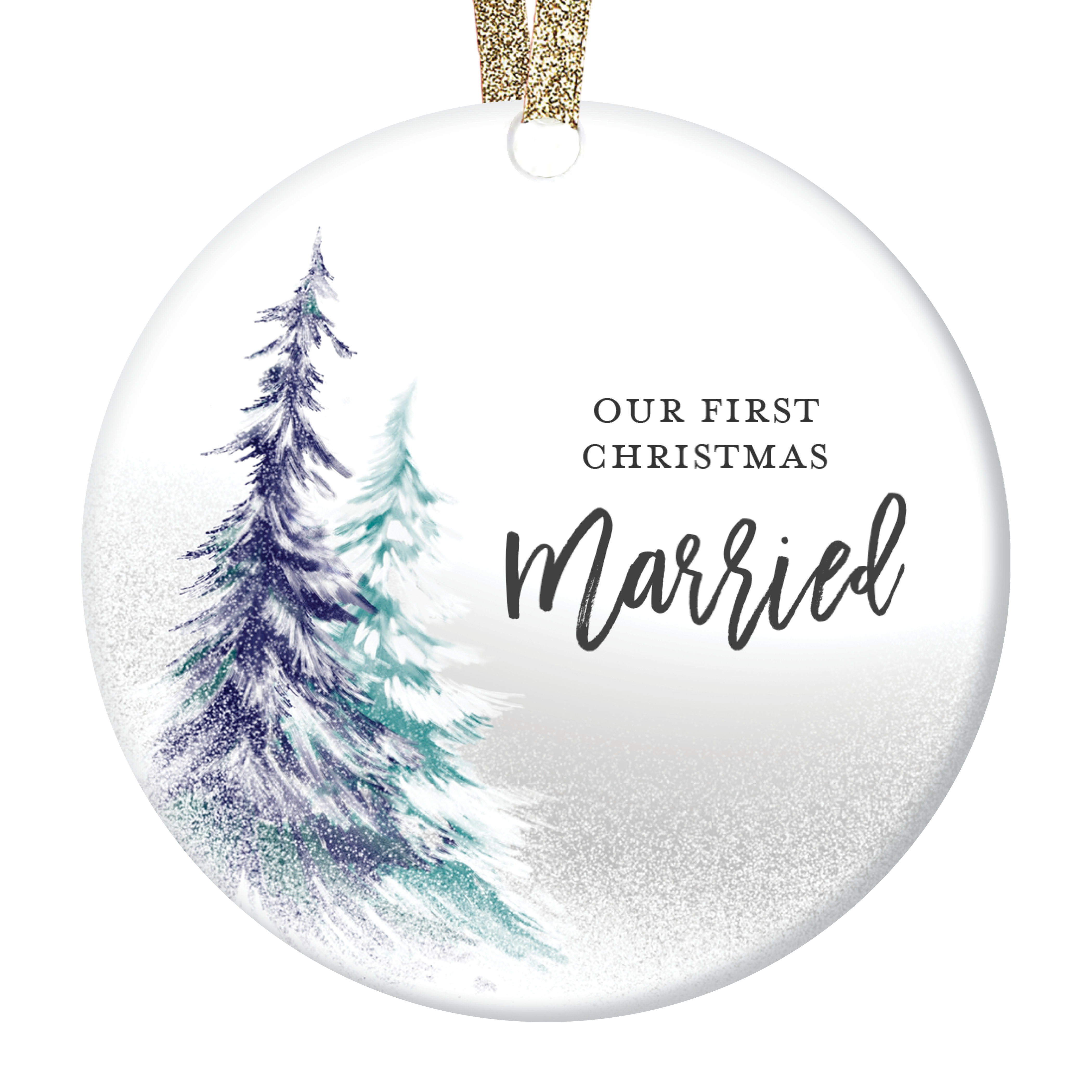 Ornament Gift For Married Couple Wedding Gift Bridal Shower Gifts Gift For Couple Personalized Porcelain Ceramic Christmas Ornament