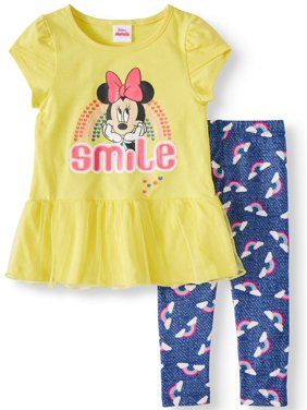5f03a85c8 Product Image Minnie Rainbow Tulle Hem Top and Legging, 2-Piece Outfit Set (Little  Girls