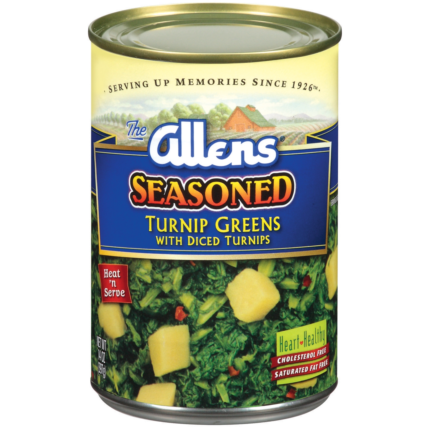 The Allens Seasoned W/Diced Turnips Turnip Greens 14 Oz Can
