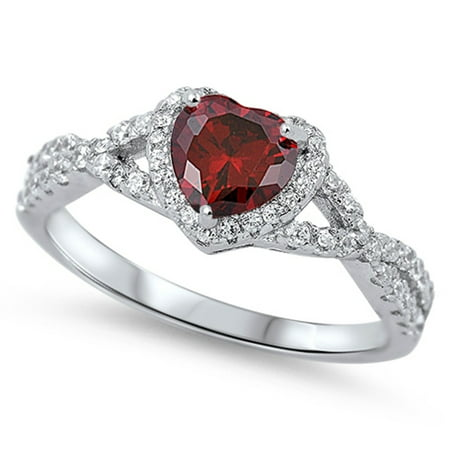 Heart Simulated Garnet Surrounded By Round Cubic Zirconia Swirl Design Ring Sterling Silver 925 Design Garnet Ring