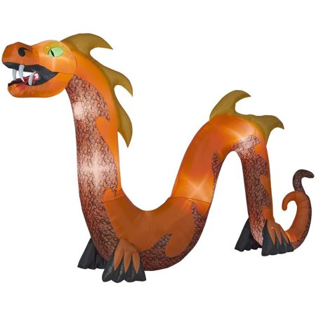 Home Accents Holiday Halloween Inflatable 16 ft. Colossal Orange Serpent with Flaming Mouth Decor - Halloween 2017 School Holidays