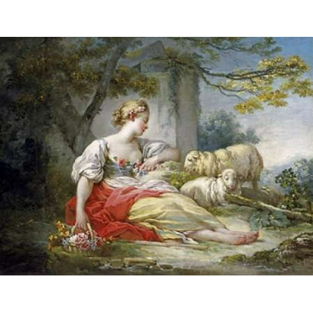 Seated Sheep (Shepherdess Seated with Sheep and a Basket of Flowers Near a Ruin in a Wooded Landscape Rolled Canvas Art - Jean Honore Fragonard (9 x 12))