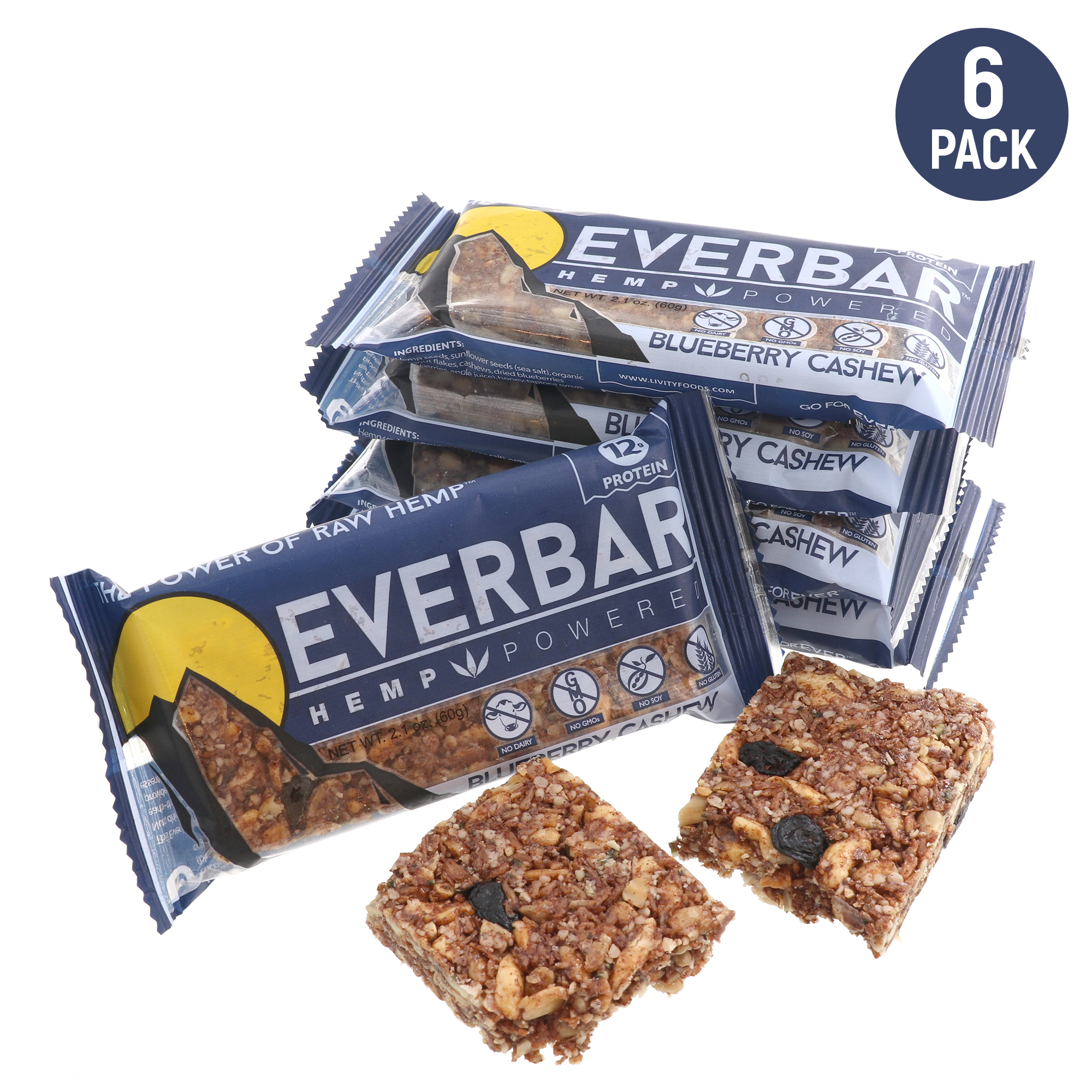 EverBar - Hemp Powered - 12g Protein Bars - Gluten-Free - Blueberry Cashew - 6 Pack