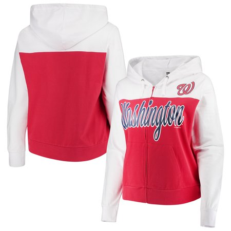 433095daaccab Washington Nationals 5th & Ocean by New Era Women's Plus Size French Terry  Color Block Full-Zip Hoodie - Red/White - Walmart.com