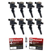 Set of 8 Ignition Coils & Motorcraft Spark Plugs SP413 Compatible with 2001-2011 Mercury Grand Marquis 4.6L V8 Replacement for DG508 SP413