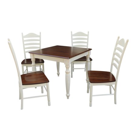 36x36 Dining Table With 4 Ladderback Chairs Alabaster Espresso 5 Piece Set