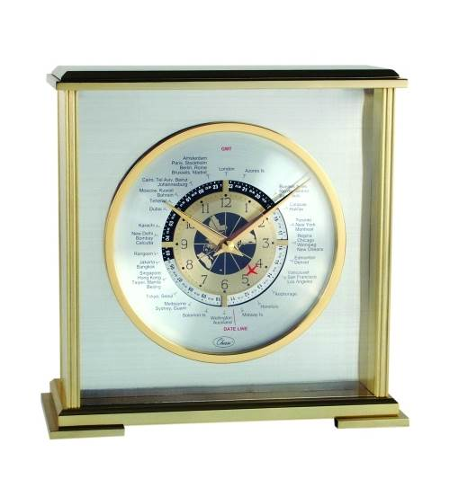 Chass Aviator World Time Square Clock in Silver Finish