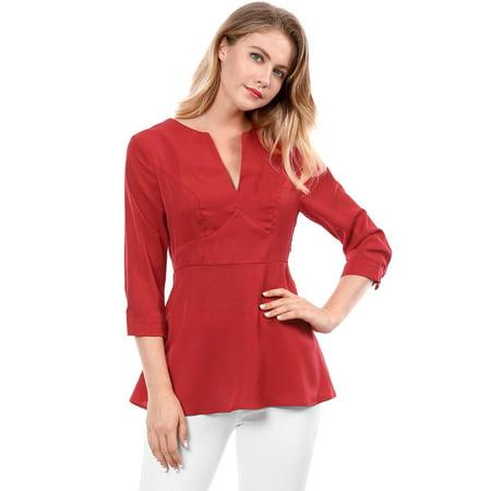 3/4 Cuff Sleeve Shirt - Unique Bargains Women's V Neck 3/4 Sleeves Button Cuffs Peplum Top