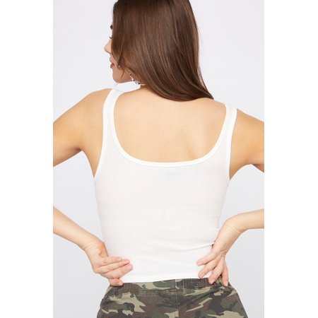 Urban Planet Women's Ribbed Faux Button-Up Cropped Tank - image 2 of 3