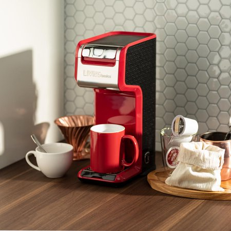 LIVINGbasics 2 in 1 Single Serve Coffee Maker Coffee Brewer, Compatible with K-Cup Pods or Ground Coffee - image 7 de 8