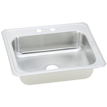 Elkay CR25222 Gourmet Celebrity Stainless Steel Single Bowl Top Mount Sink with 2 Faucet Holes