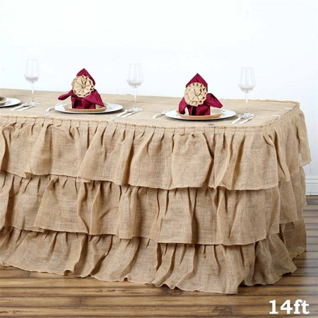 - 14ft Natural 3 Tier Rustic Ruffled Burlap Table Skirt For Outdoor Decoration