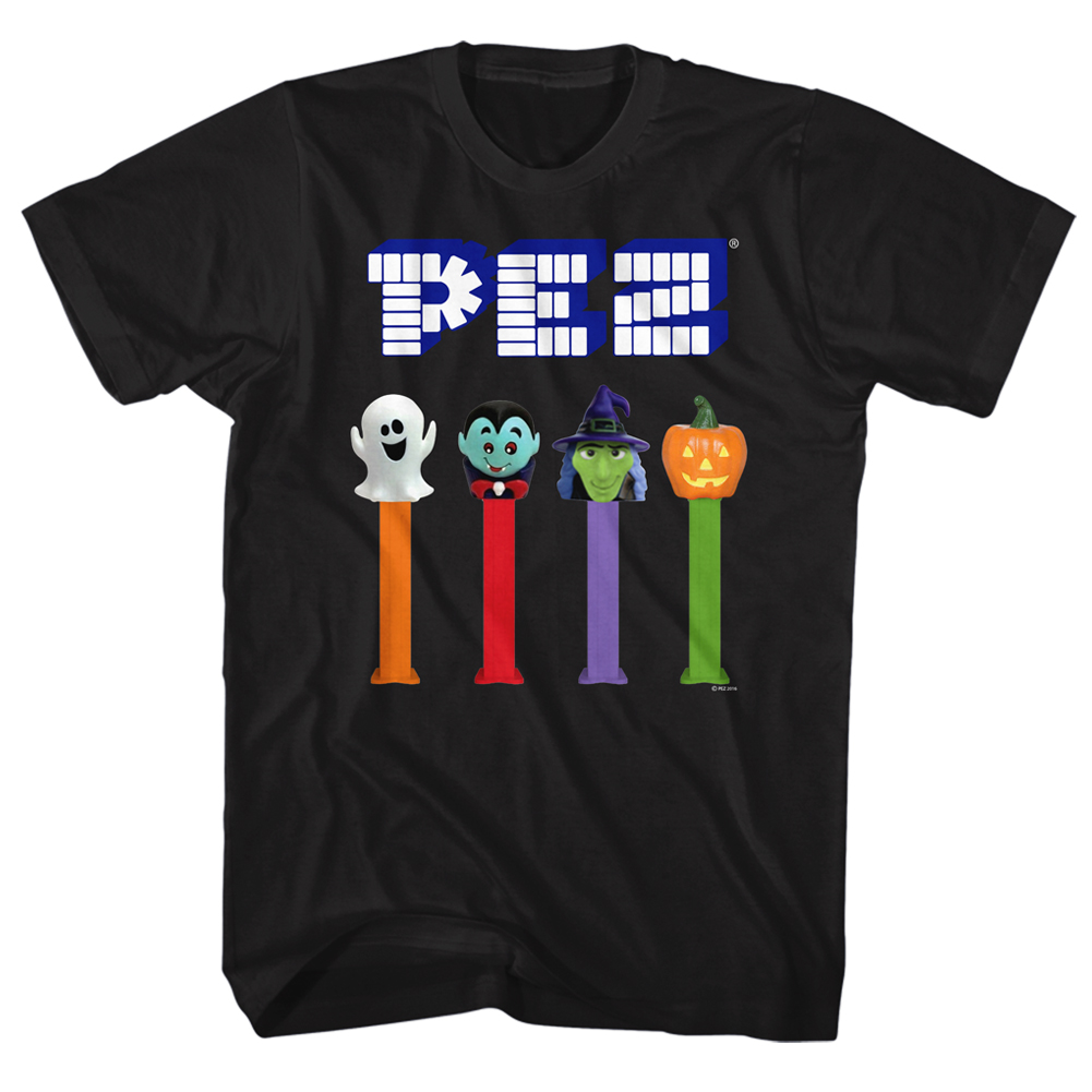 PEZ Brick Candy With Dispensers Halloween Ghost Witch Pumpkin Adult T-Shirt Tee