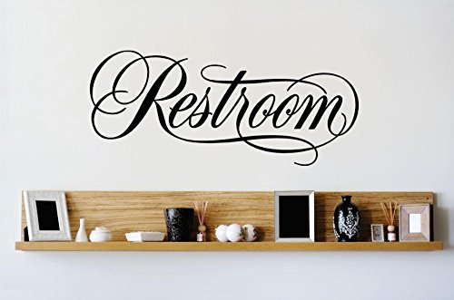 Vinyl Wall Decal Sticker : Restroom Sign IMage Quote Bedroom Bathroom Living Room Picture... by Design With Vinyl