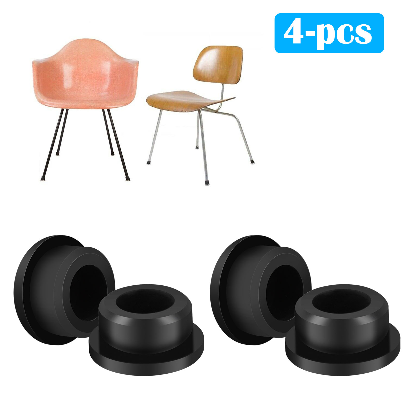 TSV Chair Foot Protector, 8-Pack Chair Glides Replacements for Eames Eiffel  Style Chair Leg Cover Furniture Feet Black - Walmart.com