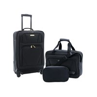 Travelers Club 3PC Expandable 4-Wheel Carry-On Set (Black)