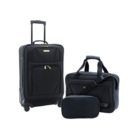 Travelers Club 3PC Expandable 4-Wheel Carry-On Set 20 Expandable Mobile Traveler
