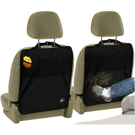 OxGord Kick Mats Seat Protector (2) Pack with Storage Organizer Pocket, Universal Fit for Car, Truck, SUV, or Van - Rear Auto Bucket Seat Upholstery Protective Cover