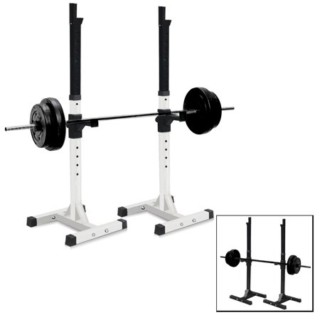 Sportmad Pair of Dumbbell Rack Adjustable Standard Solid Sturdy Steel Squat Stands Barbell Bench Free Press Stands Portable Rack for Home Gym Exercise Fitness Workout , 400lbs Capacity,