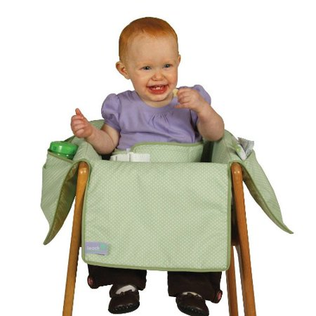 Leachco Diner Liner Booster Chair Liner with Safety Belt, Green Pin Dot